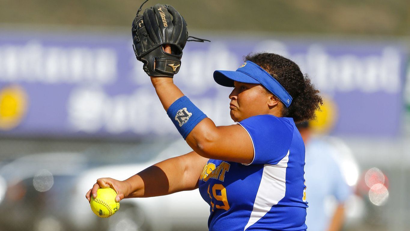 Grossmont pitcher Samaria Roope throws in the second inning against Santana.