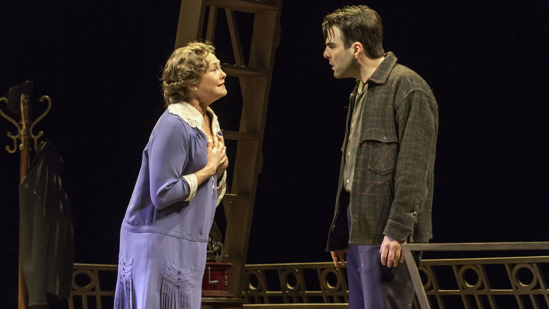 This theater image released by Jeffrey Richards Associates shows Cherry Jones, left, and Zachary Qui
