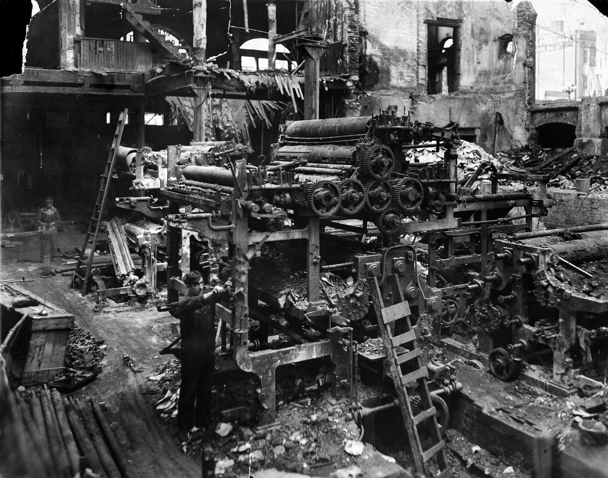 The burned-out press room following the bombing of the Los Angeles Times on Oct. 1, 1910. October 19