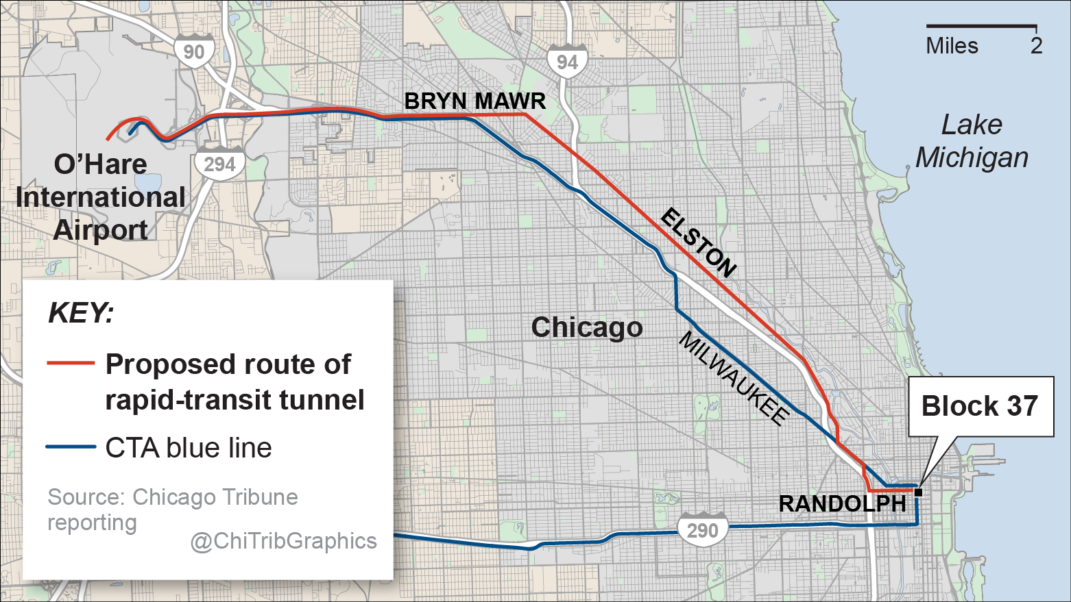 Proposed route for rapid-transit tunnel - Chicago Tribune on