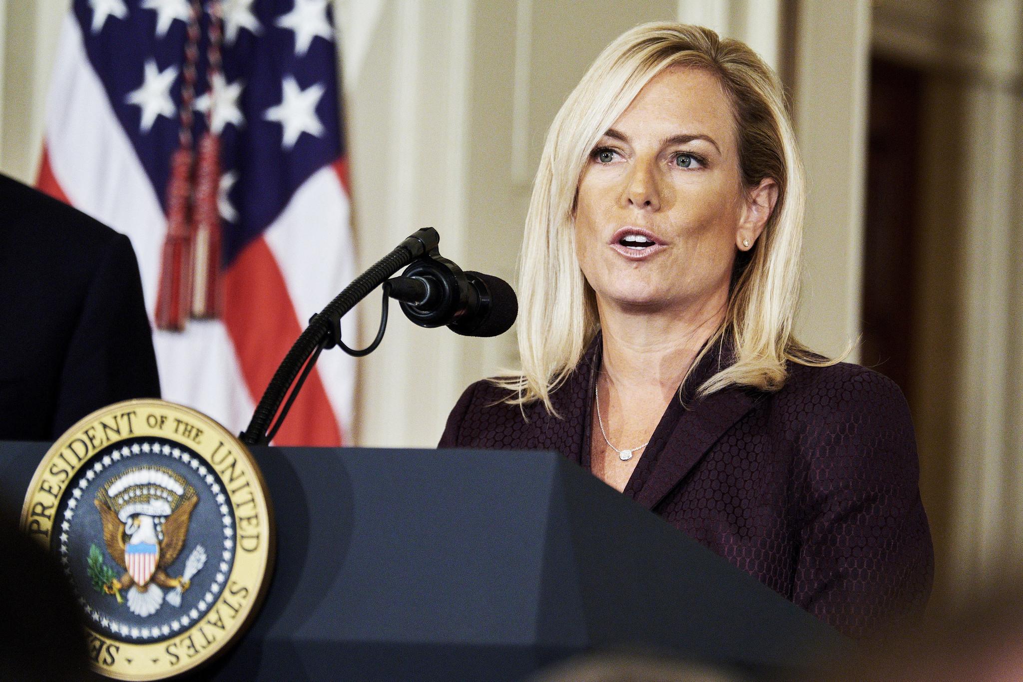 Secretary Of Homeland Security Kirstjen Nielsen Heckled By