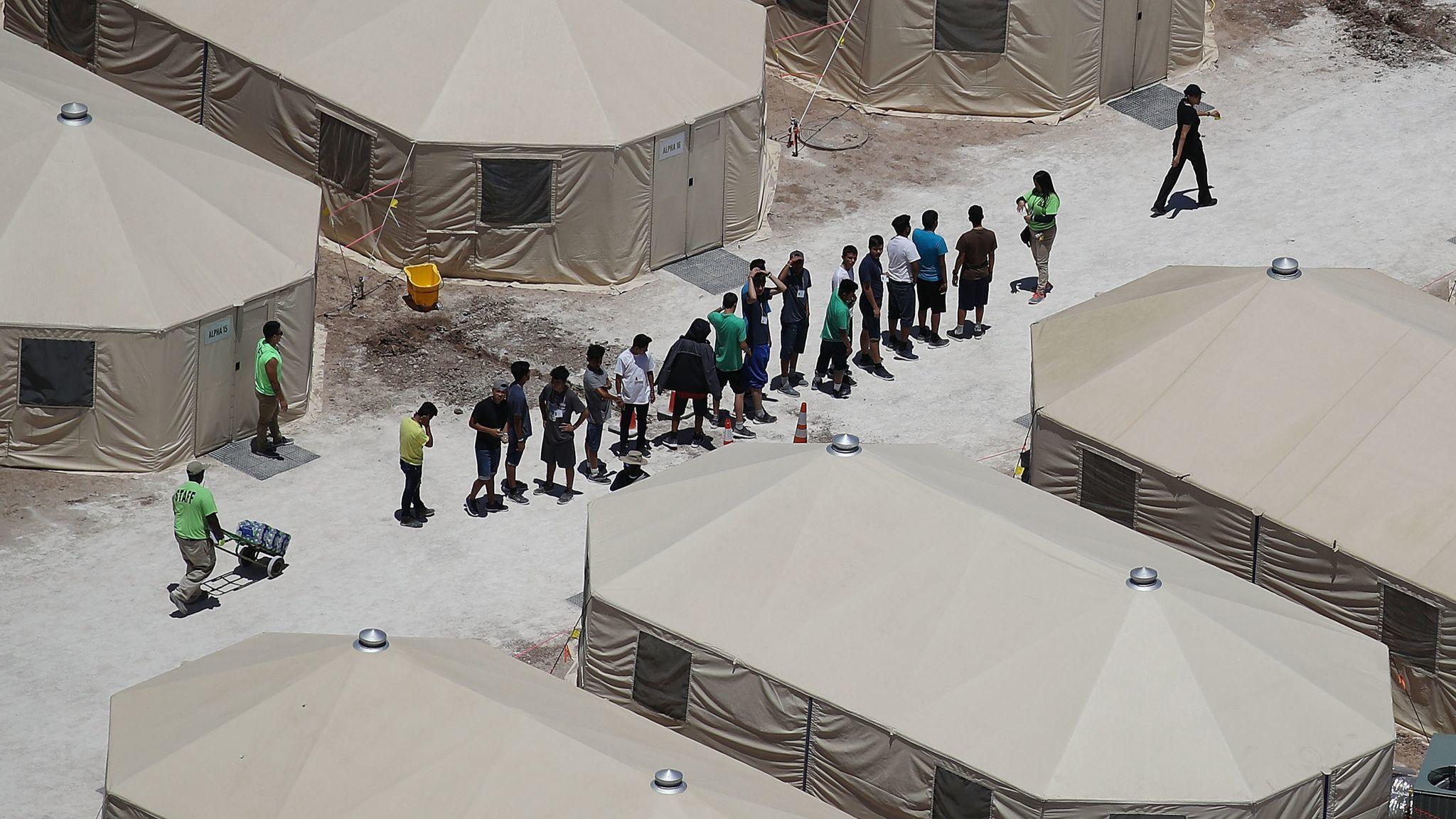 Tent encampment near port of entry in Tornillo, Texas.