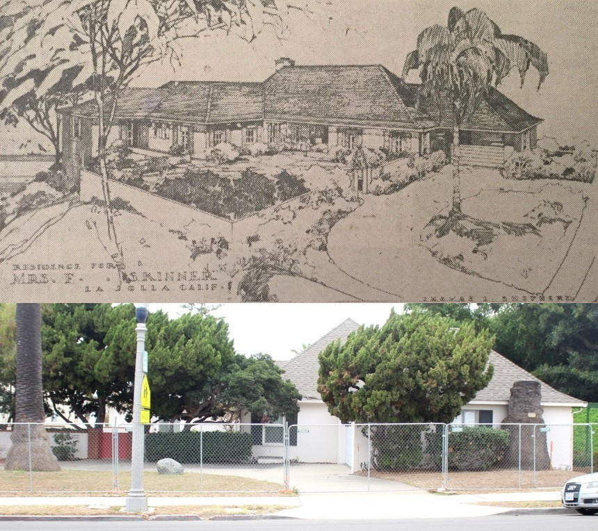 TOP: Architect Thomas Shepherd's original renderings for 636 Prospect St. BELOW: The house as it appears just before the wrecking ball.