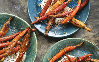 Smoke-roasted carrots with spice-scented yogurt