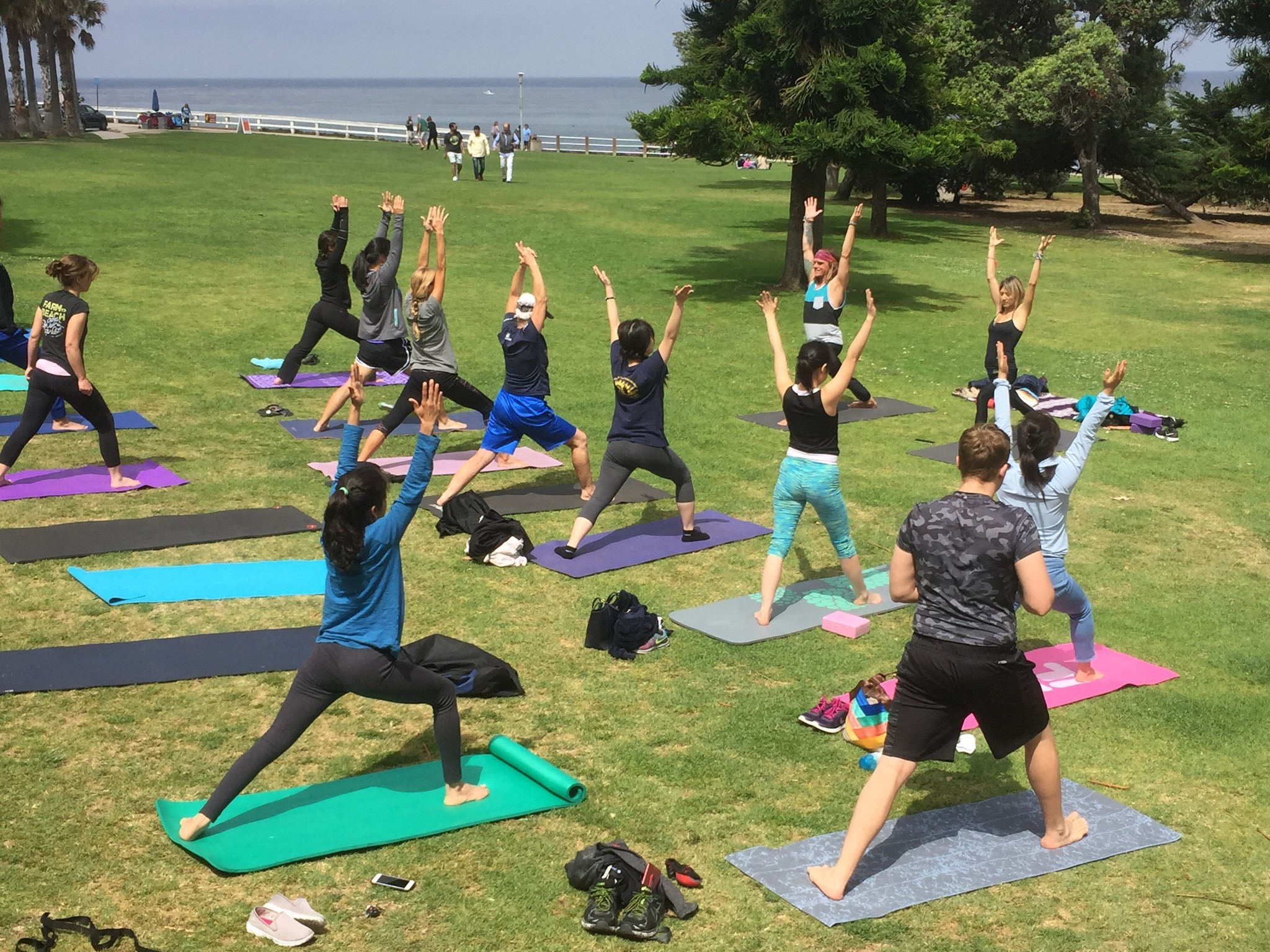 Martyn and Astrid lead about 20 yogis in practice together during a free Sunday-morning Meetup group in Scripps Park.