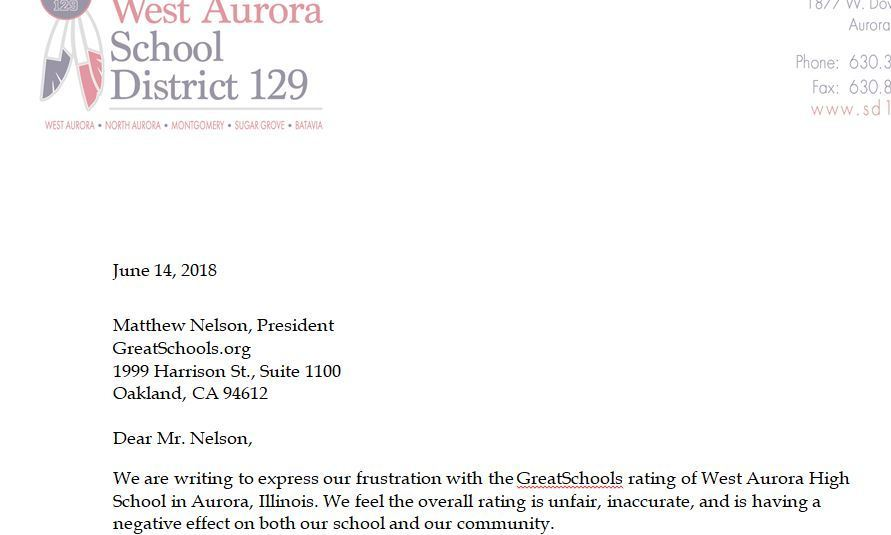 Document West Aurora Letter On Greatschools Rating Aurora Beacon News