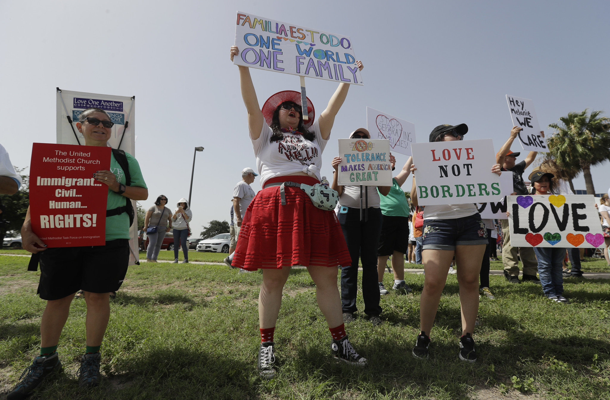 Protesters gather near a U.S. Customs and Border Protection station to speak out against immigration