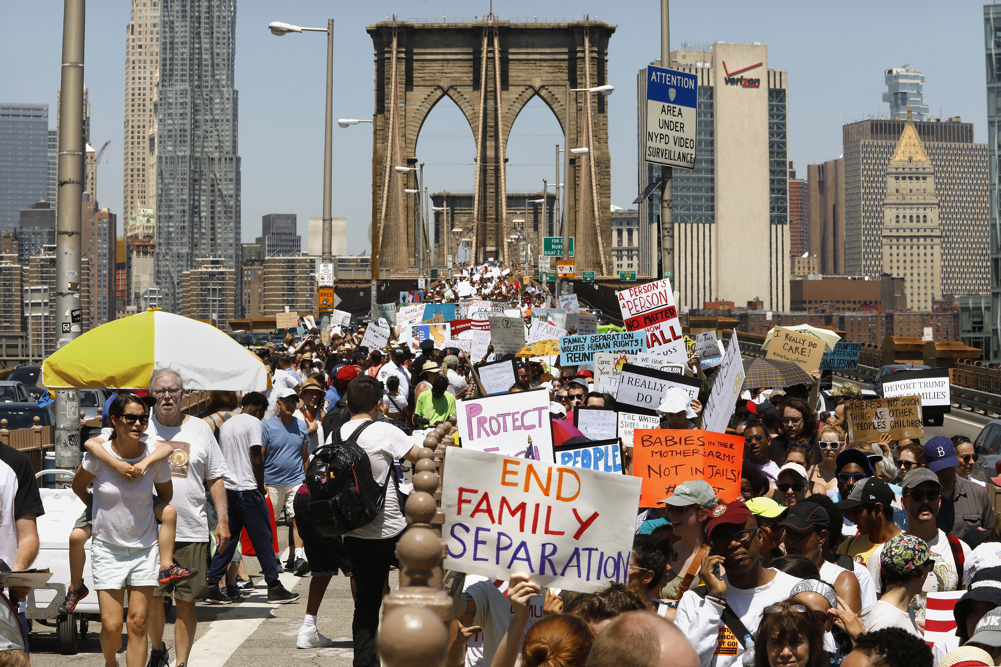 NEW YORK, NEW YORD--JUNE 30, 2018--Thousands march across the Brooklyn Bridge to protest against Pre