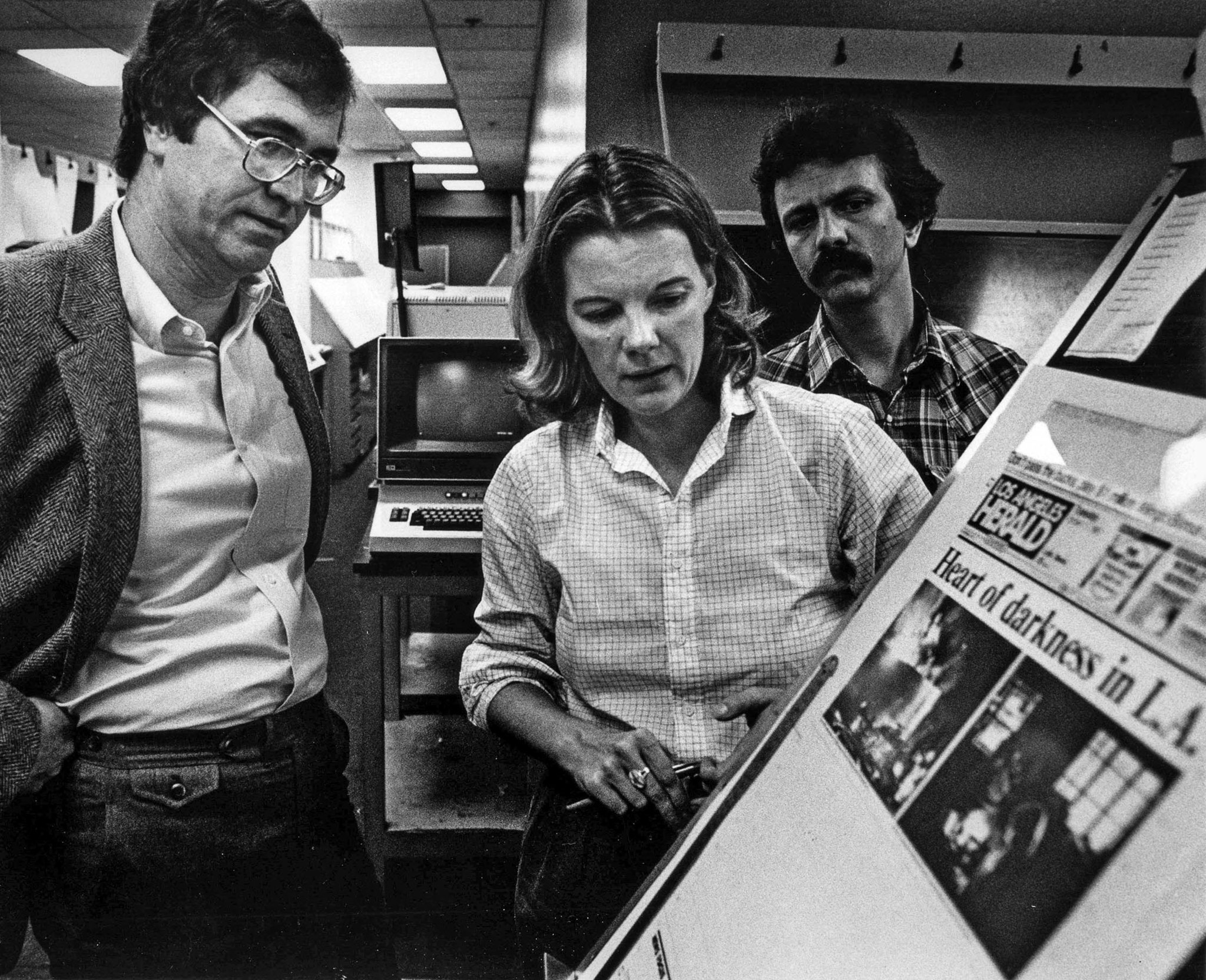 Oct. 11, 1983: Los Angeles Times publisher Tom Johnson and Los Angeles Herald Examiner editor Mary A