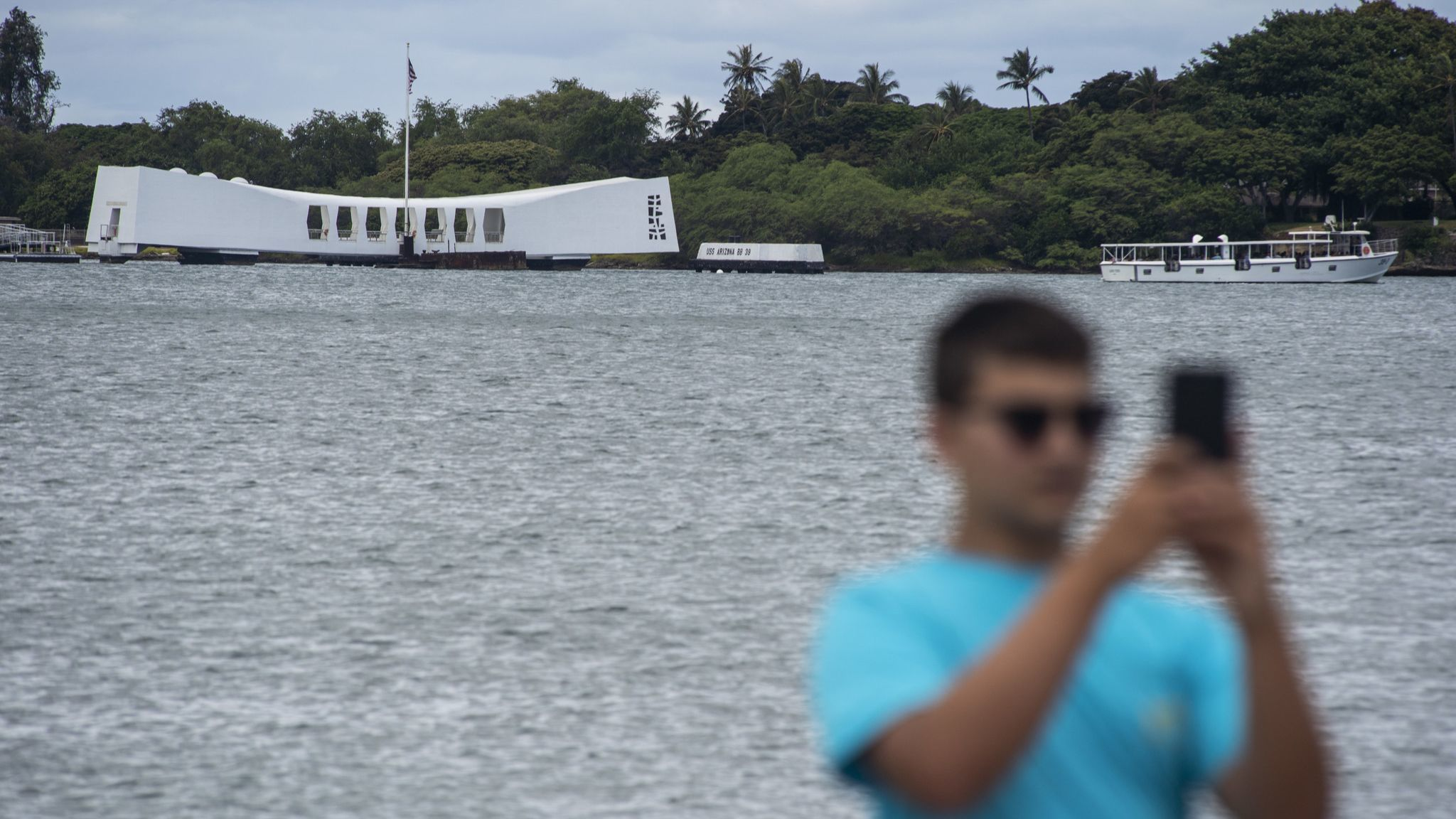 HONOLULU, HAWAII - JUNE 28: The USS Arizona Memorial at the World War II Valor in the Pacific Nation
