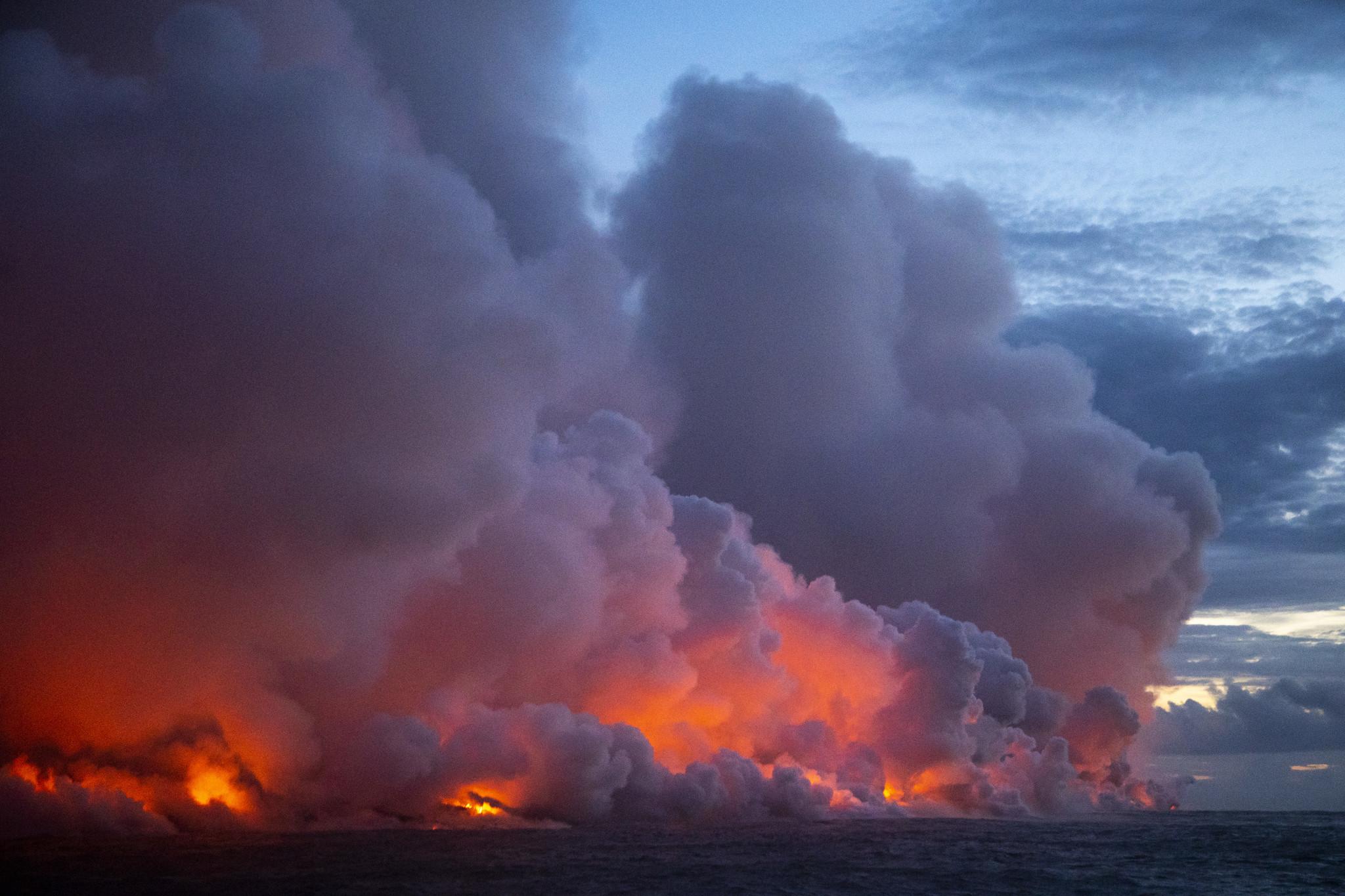 Lava reaches ocean