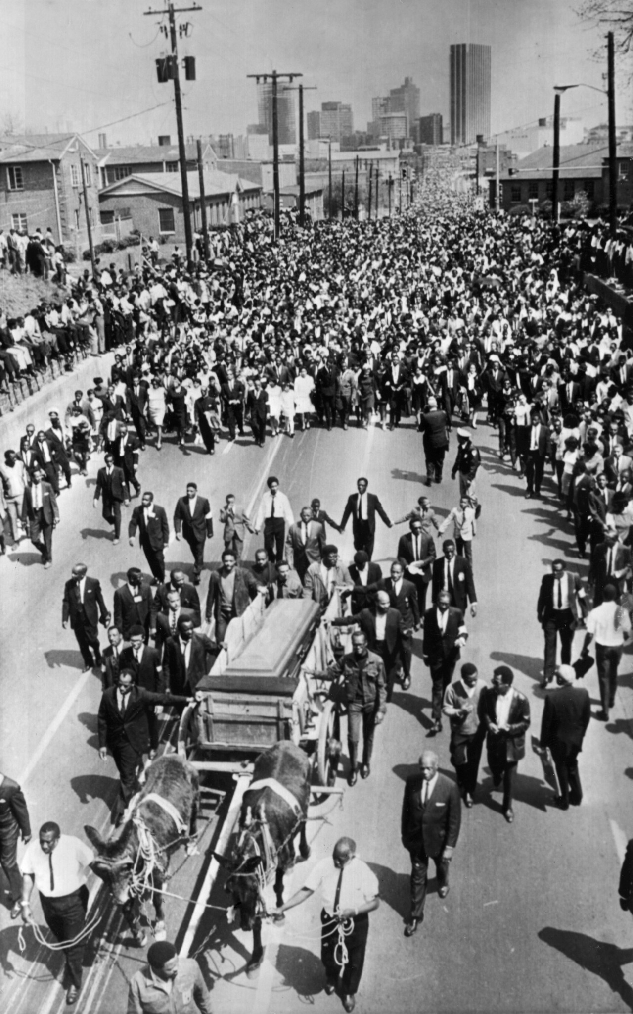 Funeral procession for Dr. Martin Luther King through the streets of Atlanta