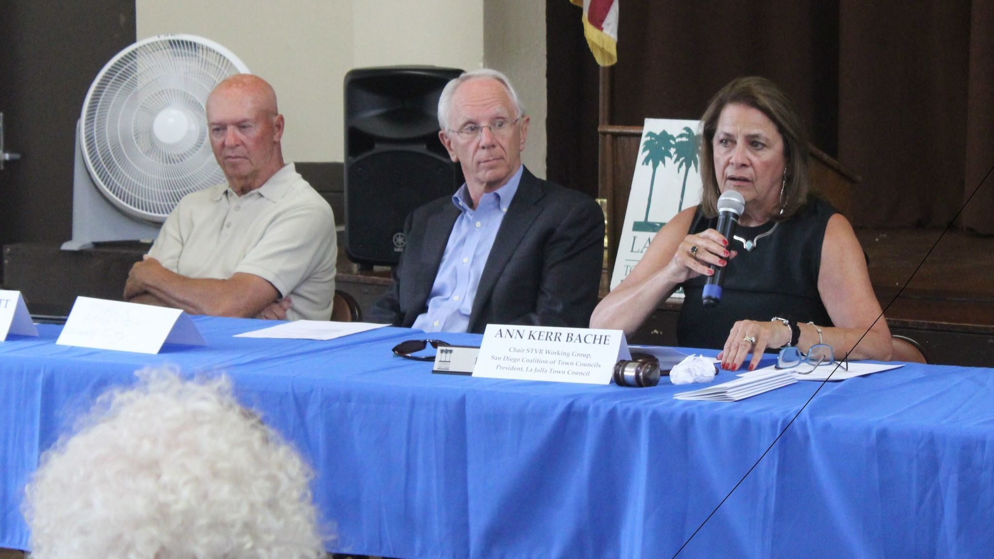Mission Beach Town Council president Gary Wonacott, from left, University City Community Association chair Mack Langston and Ann Kerr Bache