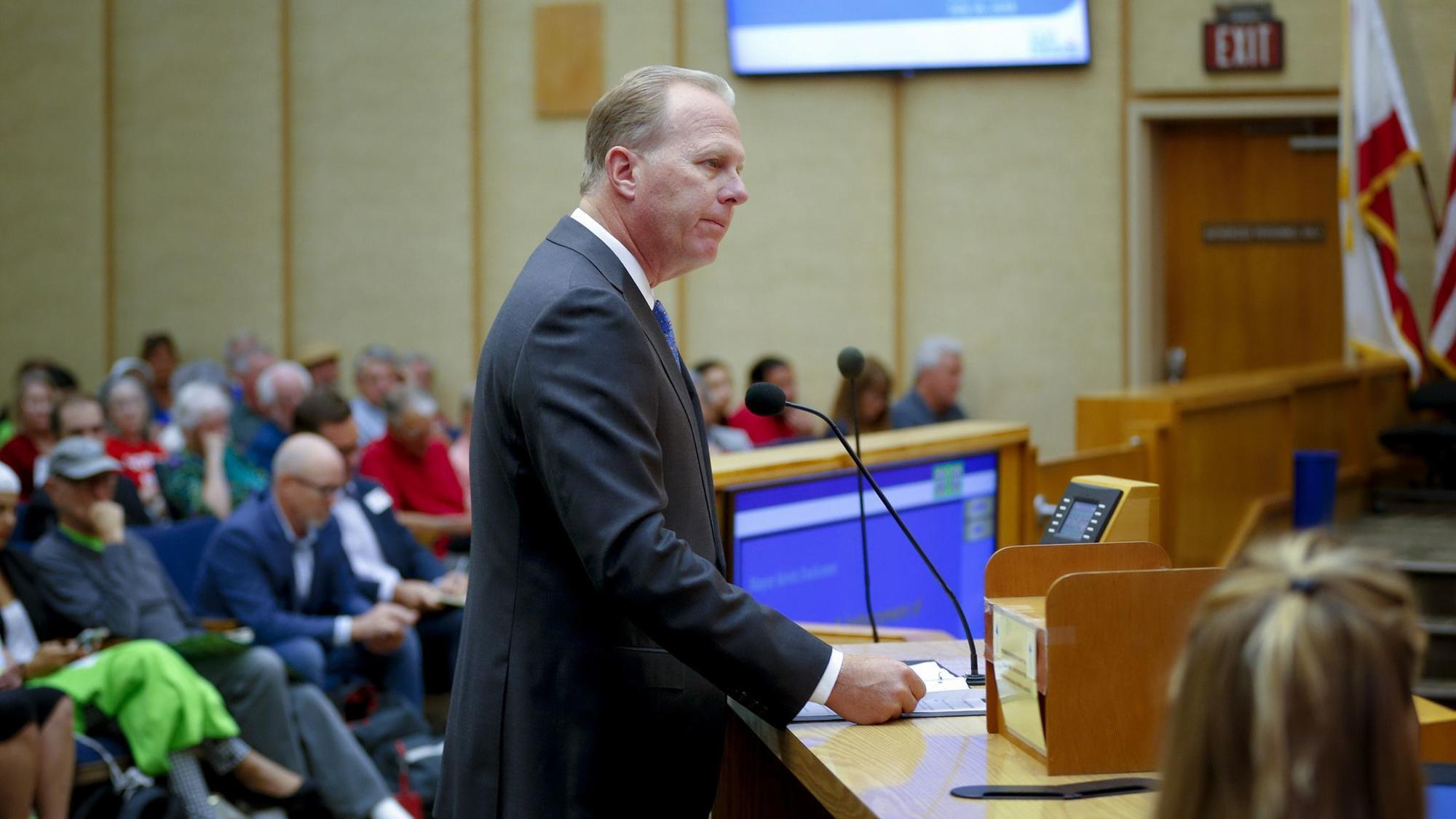 San Diego Mayor Kevin Faulconer addressed the City Council members on Monday afternoon on the issue