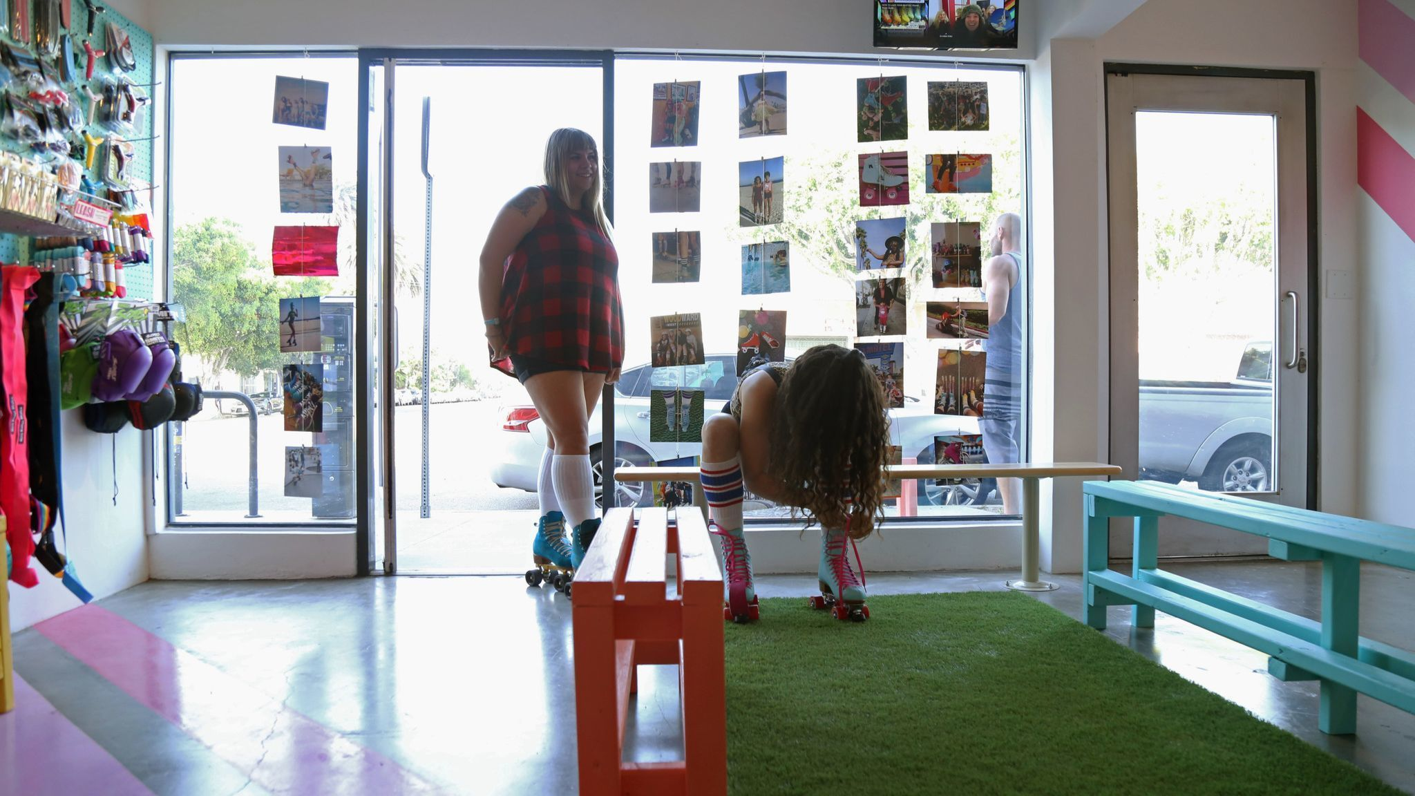 Shayna Meikle stands in the new Moxi roller skating shop in Venice.