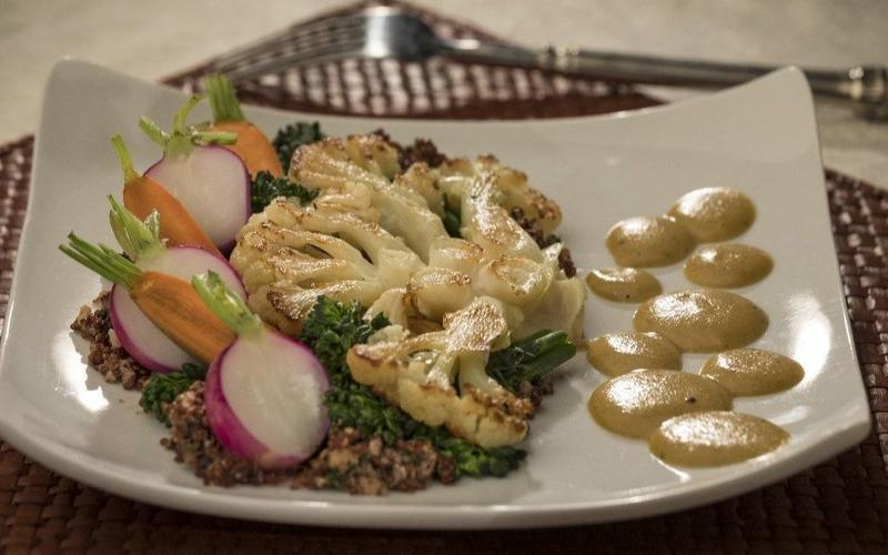 The Four Seasons' cauliflower steaks with black walnut quinoa and fragrant pear curry