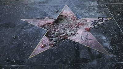 Trump's Hollywood Walk of Fame star vandalized with pickax