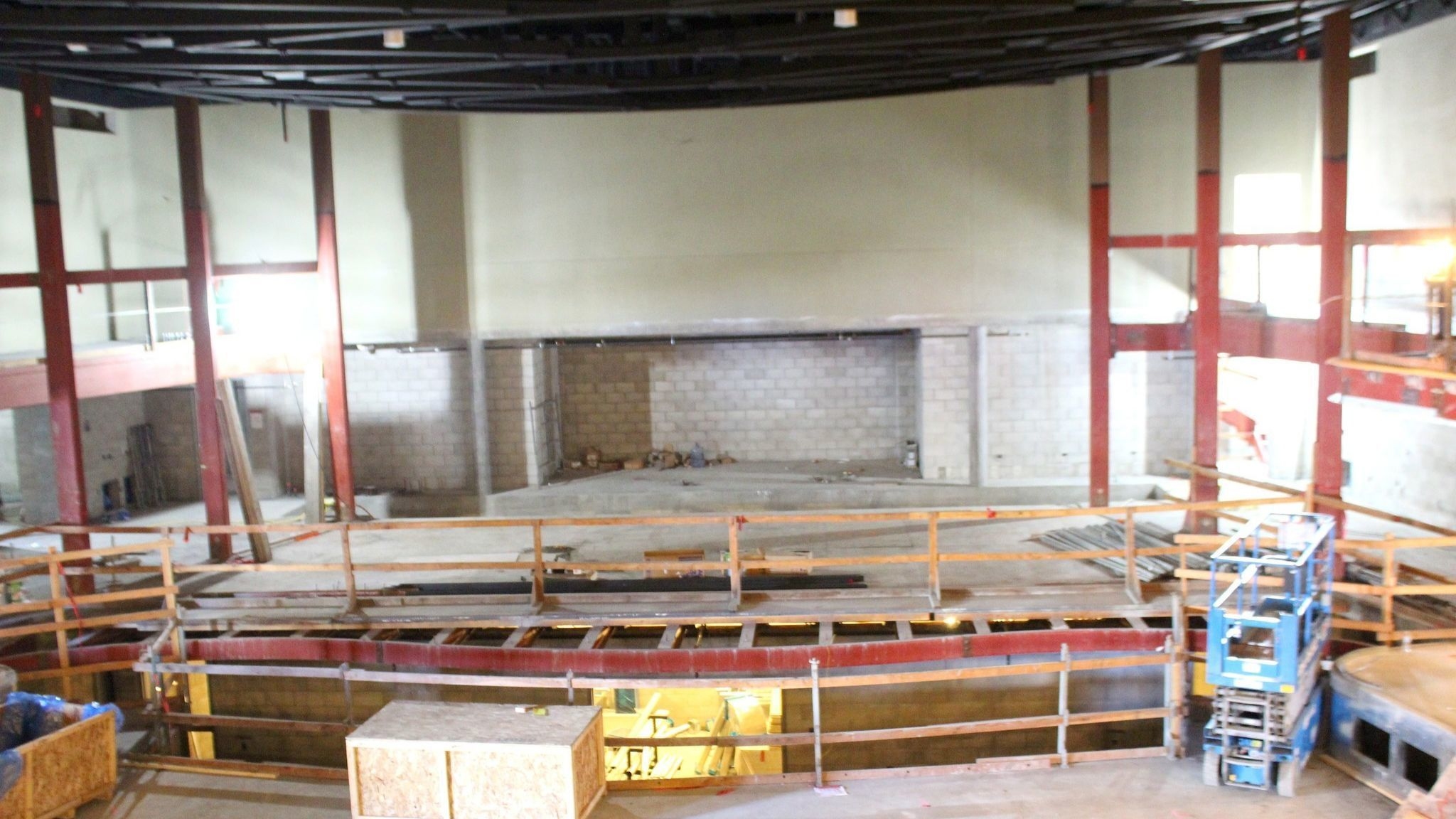 The 510-seat main room, The Baker-Baum Concert Hall, is now fully enclosed and mostly built. This view looks across the site from what will be a second-floor balcony toward the s