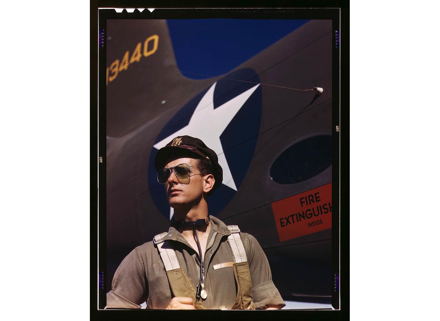 F.W. Hunter, Army test pilot, Douglas Aircraft Company plant at Long Beach, Calif. Oct. 1942