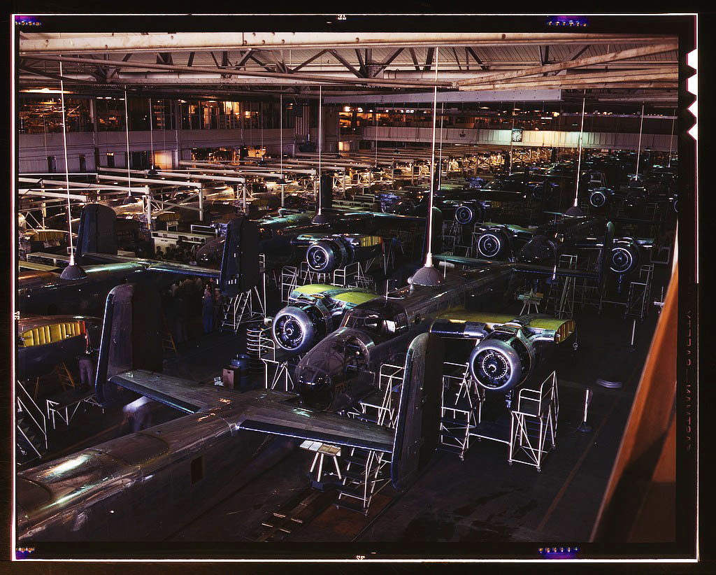 View of the B-25 final assembly line at North American Aviation's Inglewood, California, plant. 1942