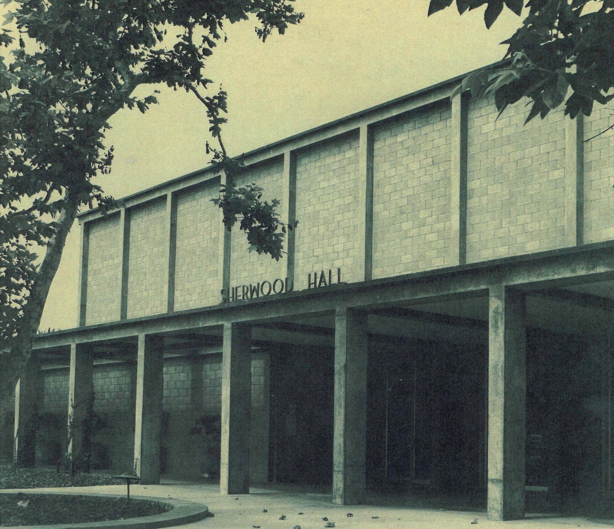 This facade for the Sherwood Auditorium, designed by Mosher Drew in 1960, was torn down and rebuilt by VSB in 1996.
