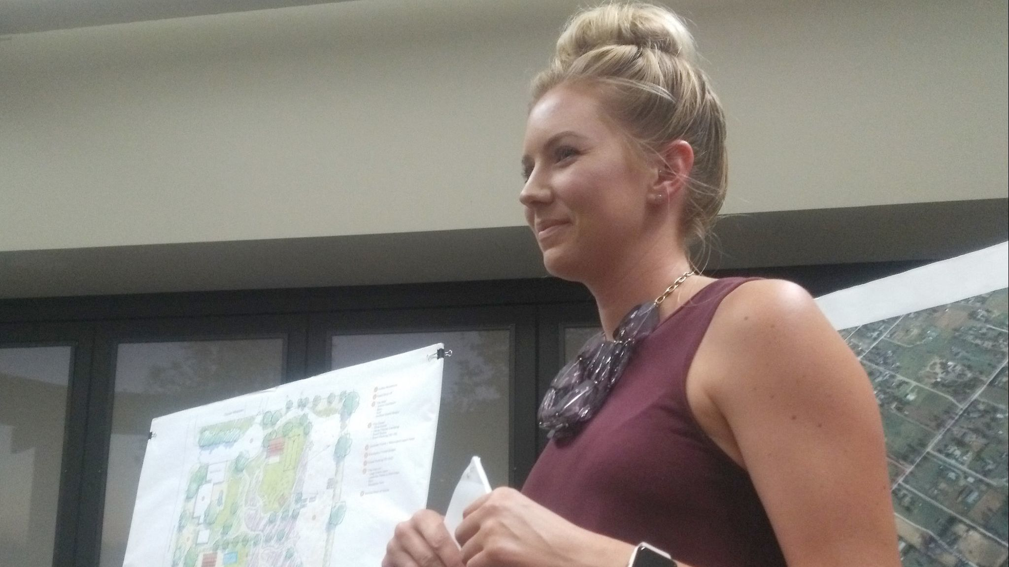 Lauren Schulte of Woodcrest Companies is the project manager of a proposed Lavender and Olive wedding event center. She is addressing noise and traffic concerns with neighbors.