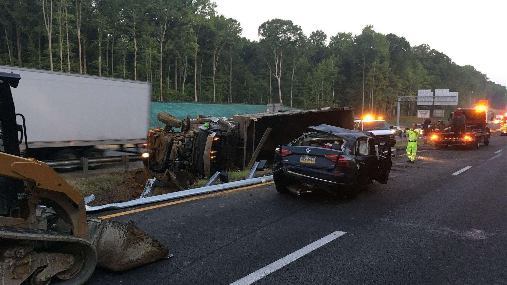 UPDATED: charges pending after I-64 westbound dump truck crash in