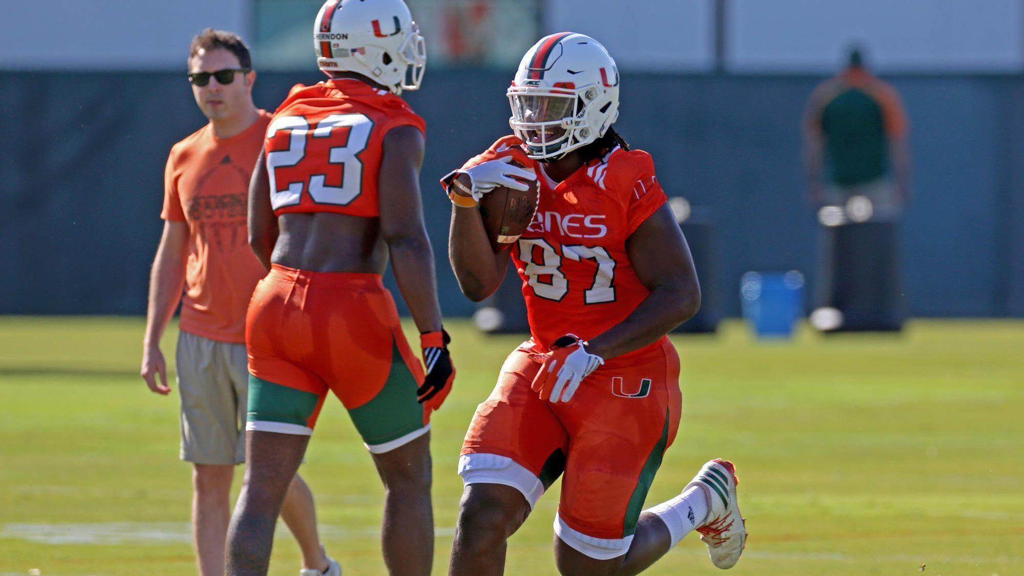 innovative design 75869 f9b70 Hurricanes young tight ends will have to step up after ...