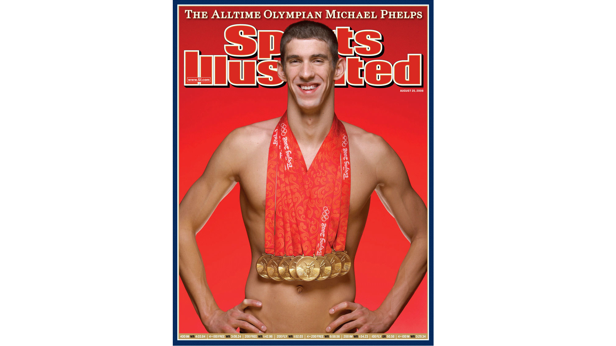 407da8bc964 Michael Phelps wears all eight gold medals he won in the 2008 Beijing  Olympics on the cover of the Aug. 25