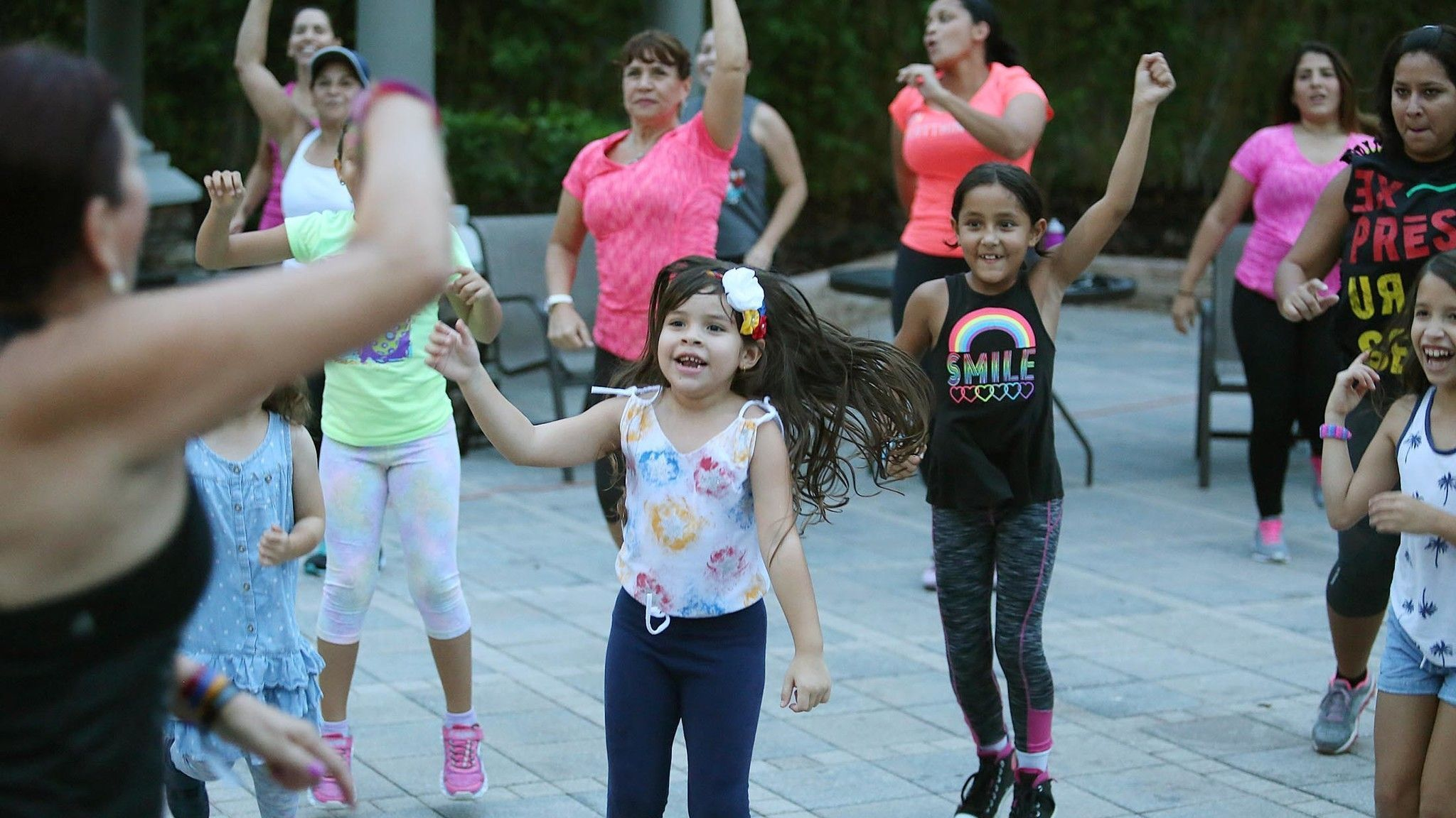 Venezualan Immigrants enjoy Zumba