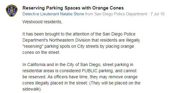Using a cone to call dibs on a parking spot