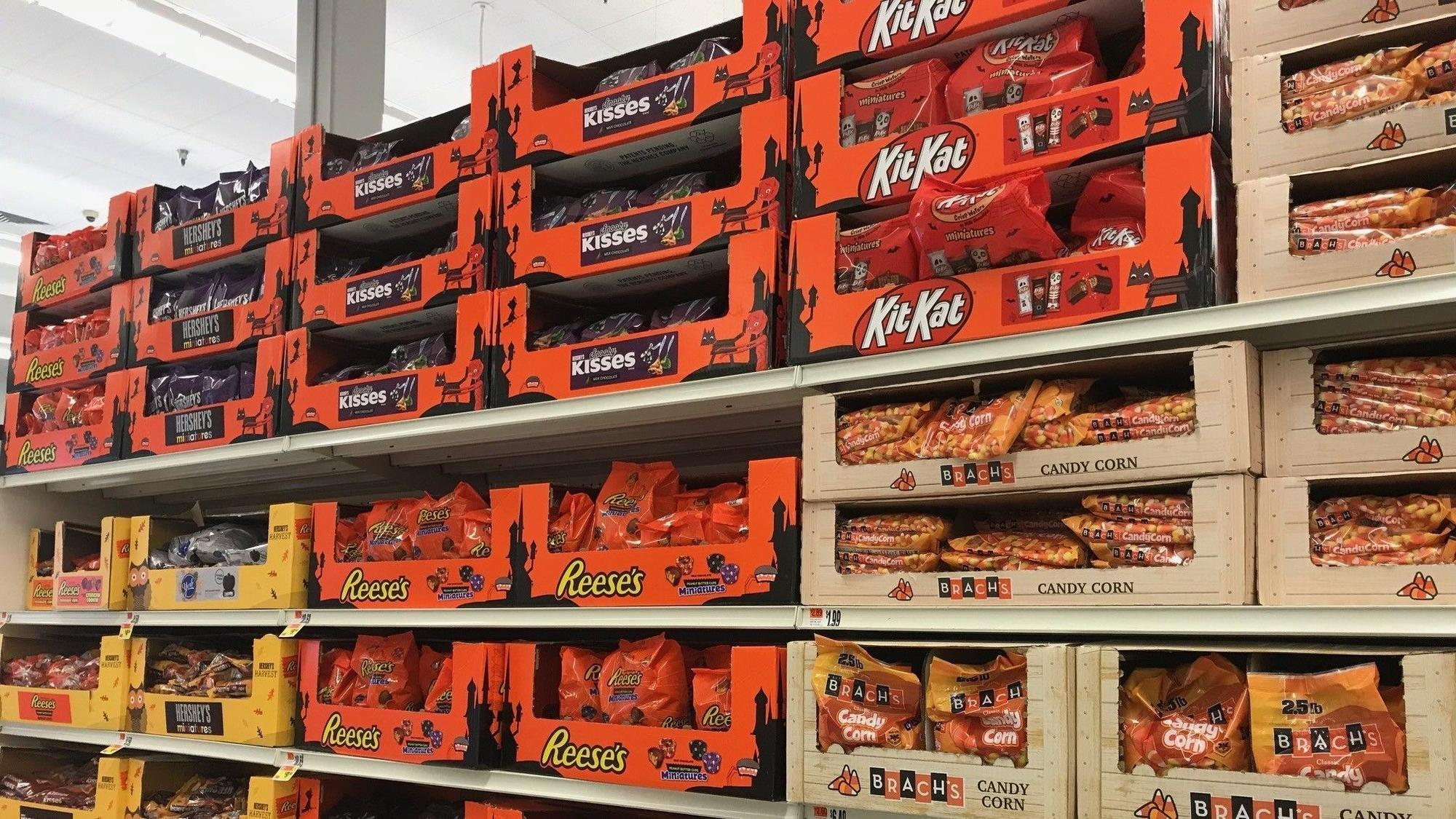 scary, huh? halloween candy is popping up already on grocery shelves