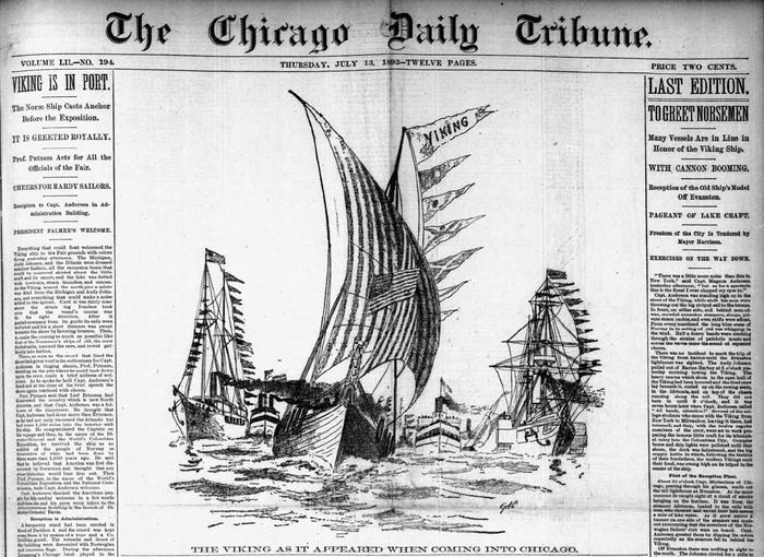 Viking ship arrives in Chicago, 1893