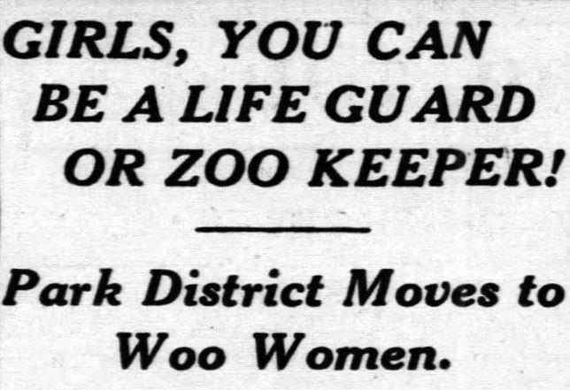 Women to be hired by Lincoln Park Zoo, 1942