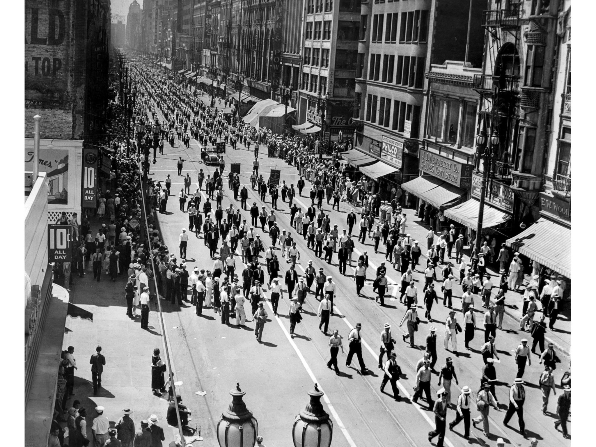 Sept. 7, 1936: Thirty-five thousand workers march in the Labor Day parade on Broadway. This photo was