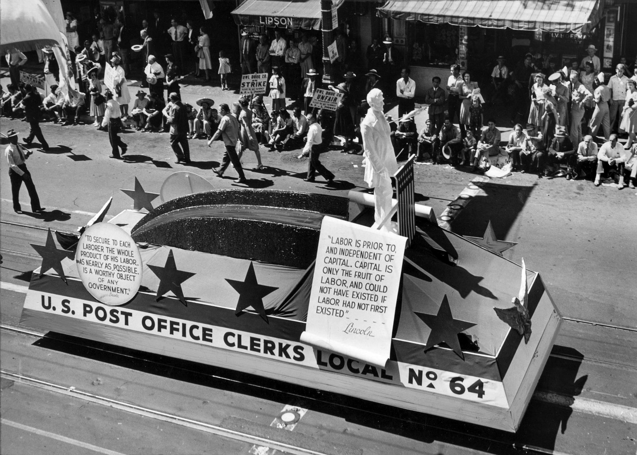 Sep. 1, 1941: Letter carriers and postal clerks had both marching units and float in the Labor Day p