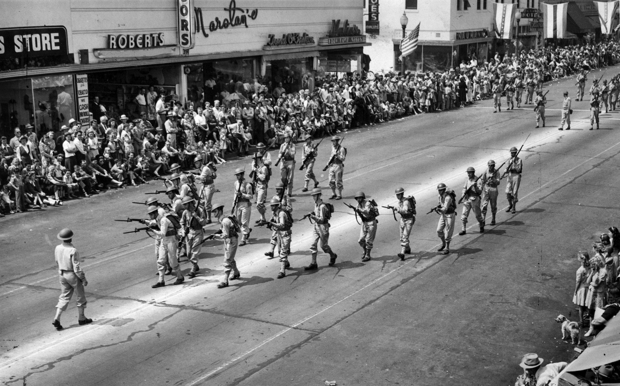 Sep. 4, 1944: California State Guard troopers demonstrate their training during El Monte's Labor Day