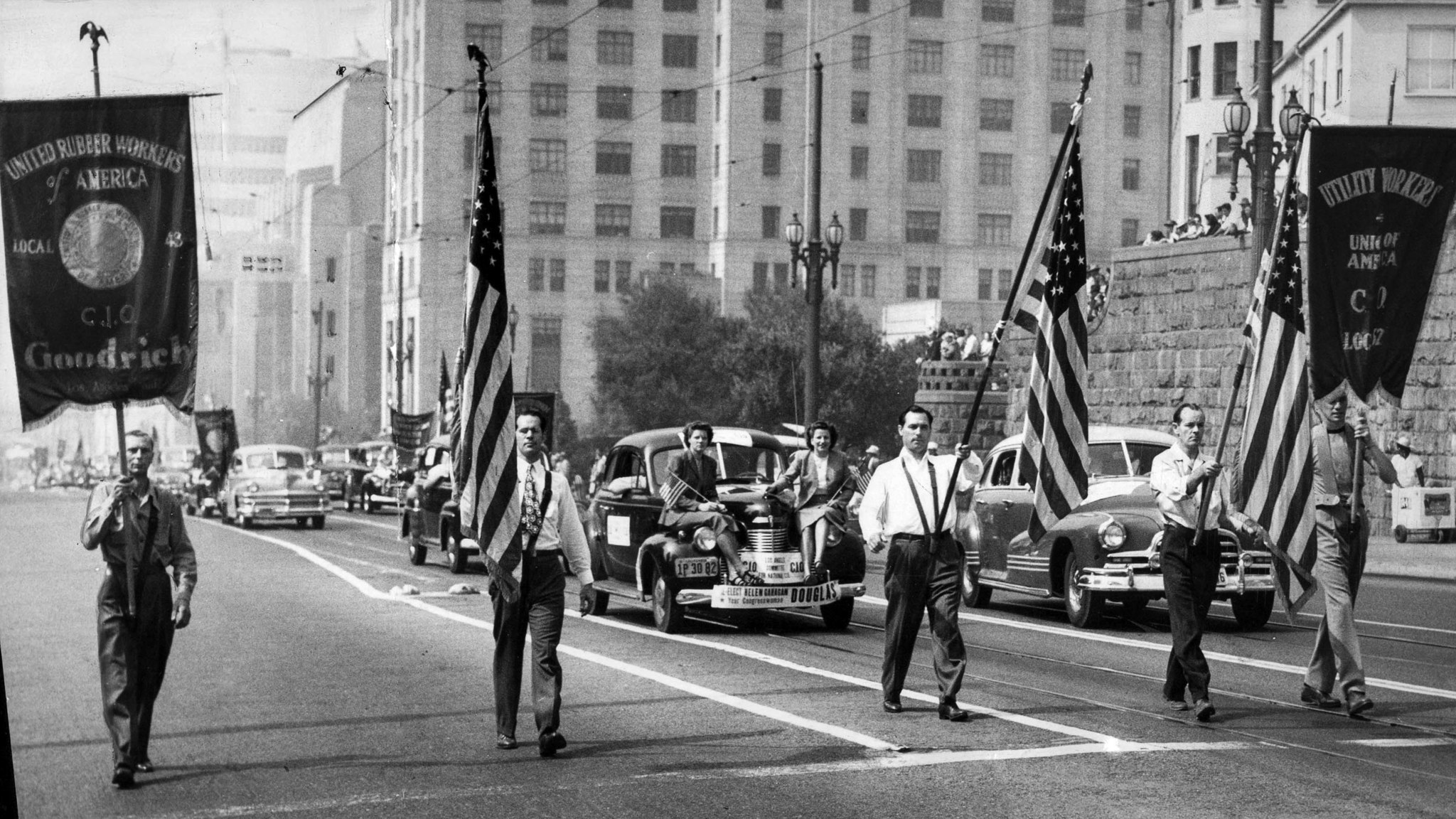 Sep. 6, 1948: The American Federation of Labor Color Guard leads the Labor Day Parade on Spring Stre