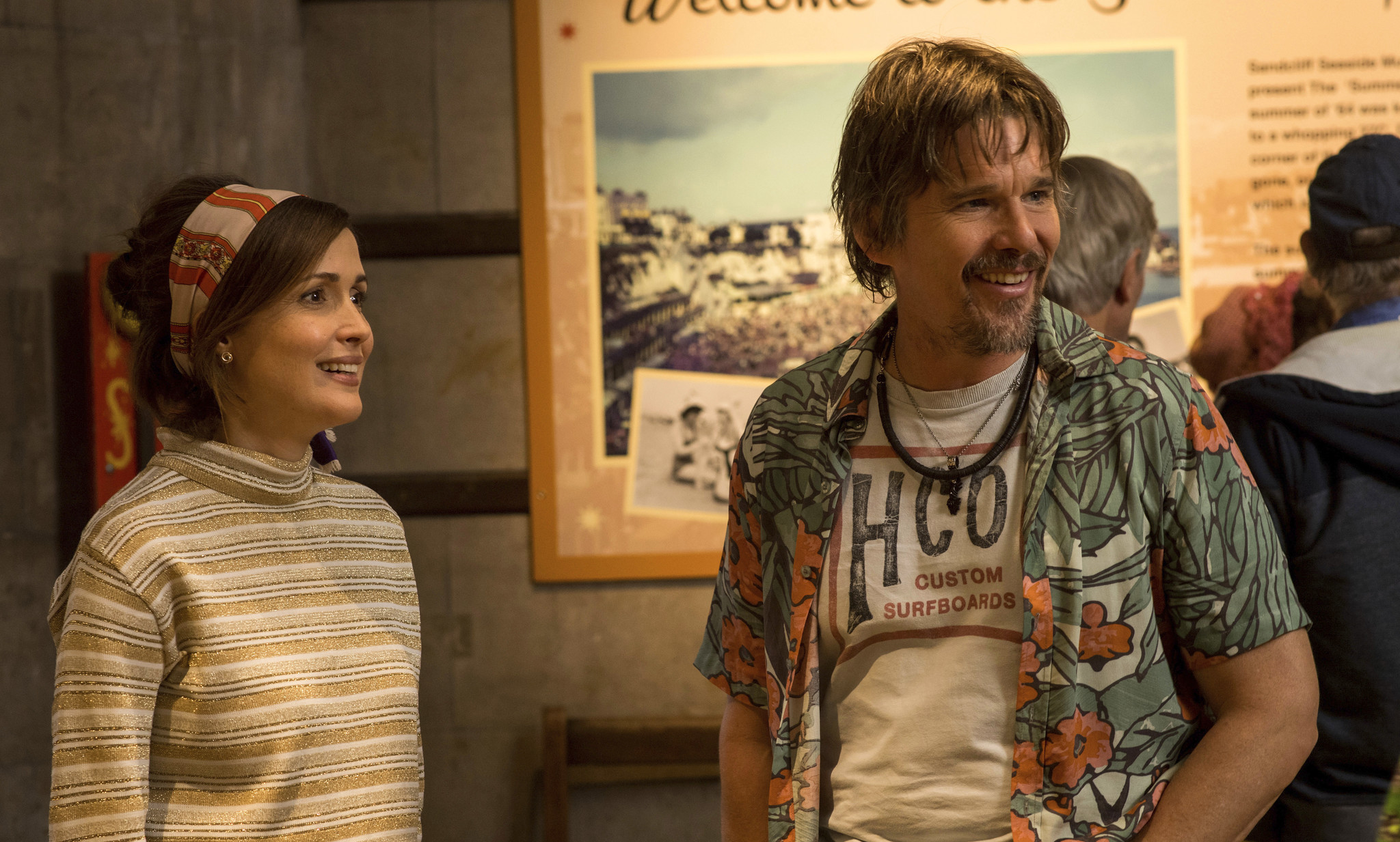 Ethan Hawke and Rose Byrne on the set of Juliet Naked