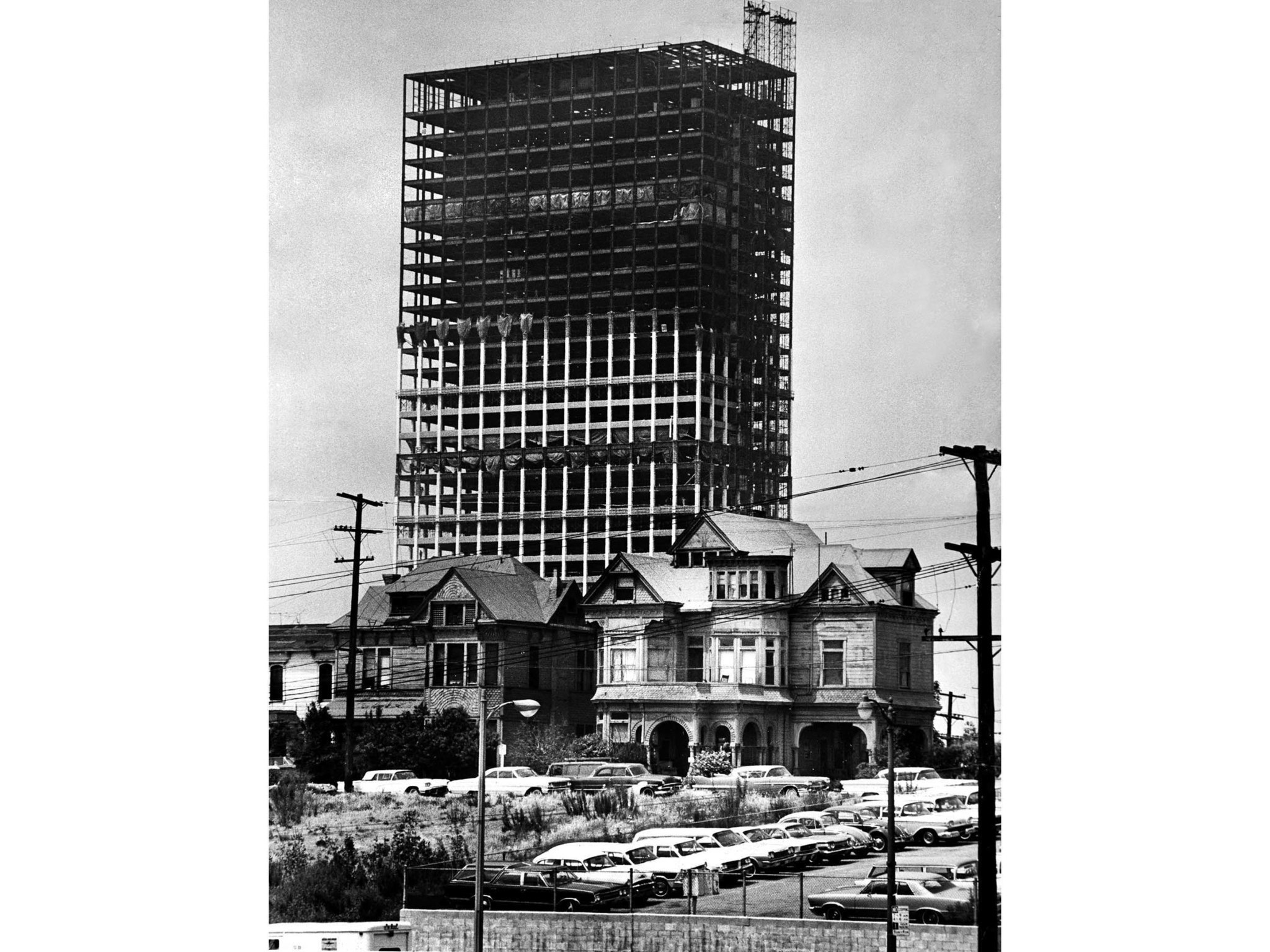 1966 file photo by staff photographer John Malmin of the new 42 story Union Bank Building towering o