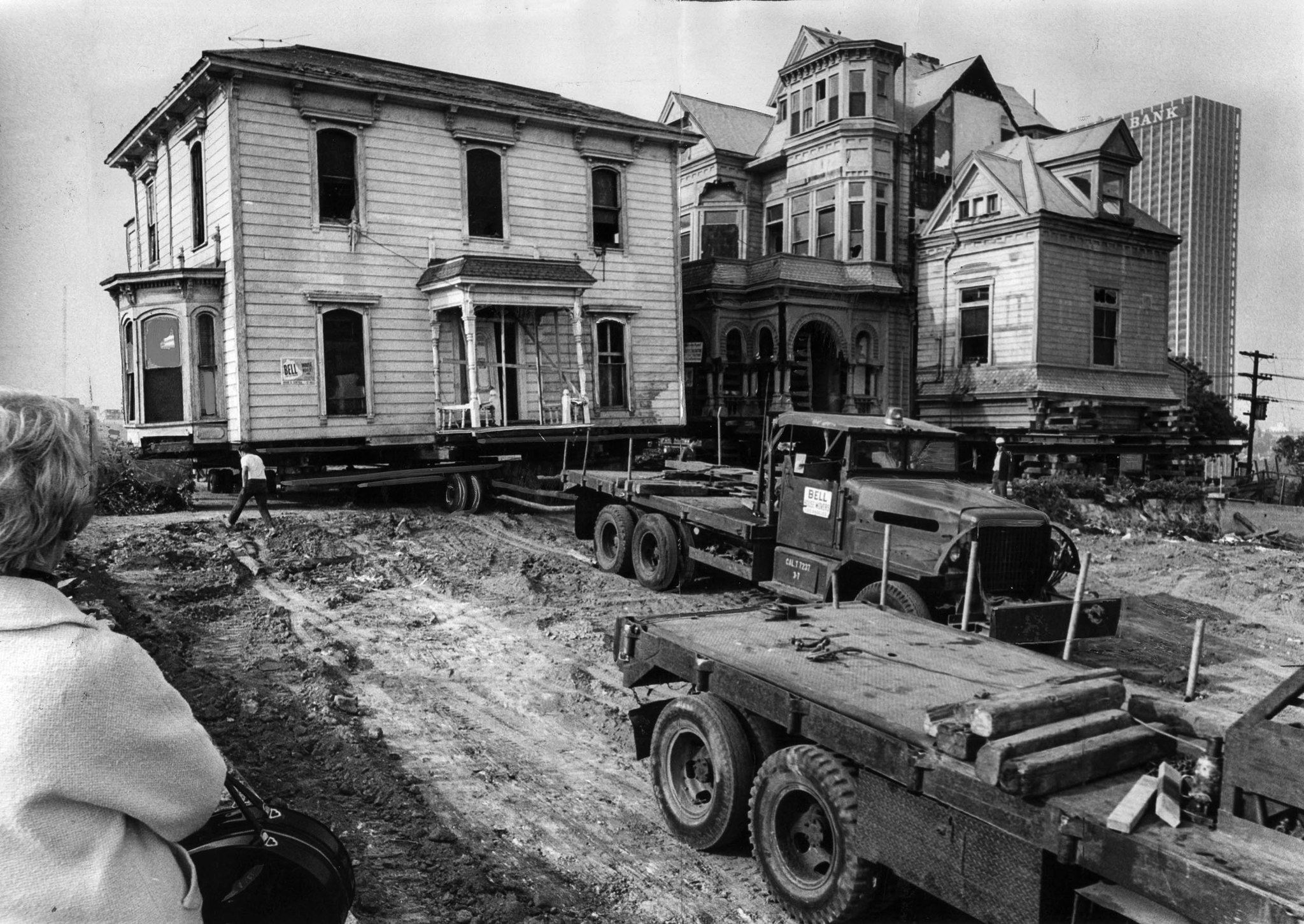 Nov. 7, 1968: Workmen begin moving the Salt Box, left, past the Castle to a temporary location. The