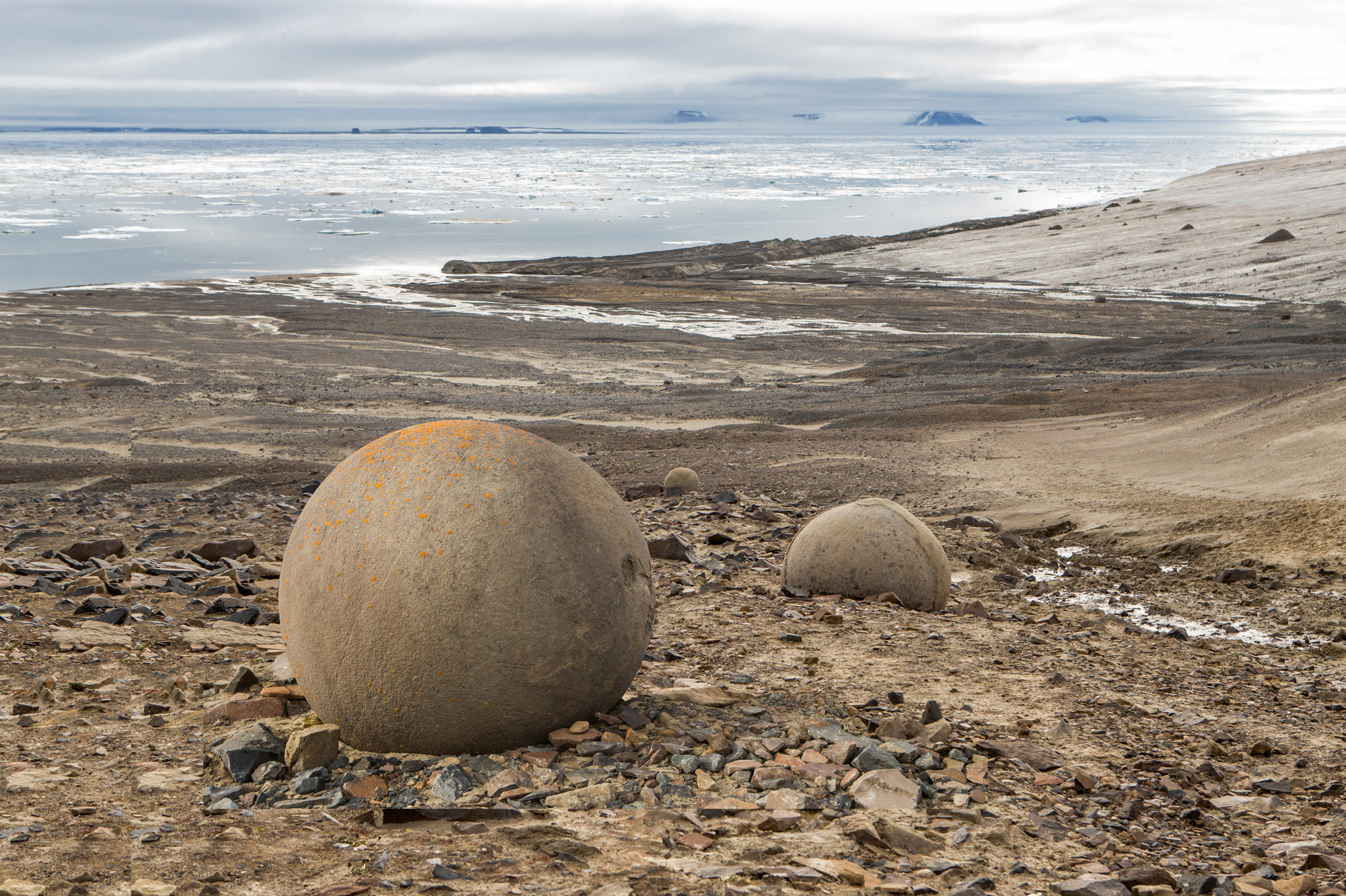 Champ Island Spheres on the Franz Josef Land archipelago. Credit: Lauren Farmer / Poseidon Expeditio