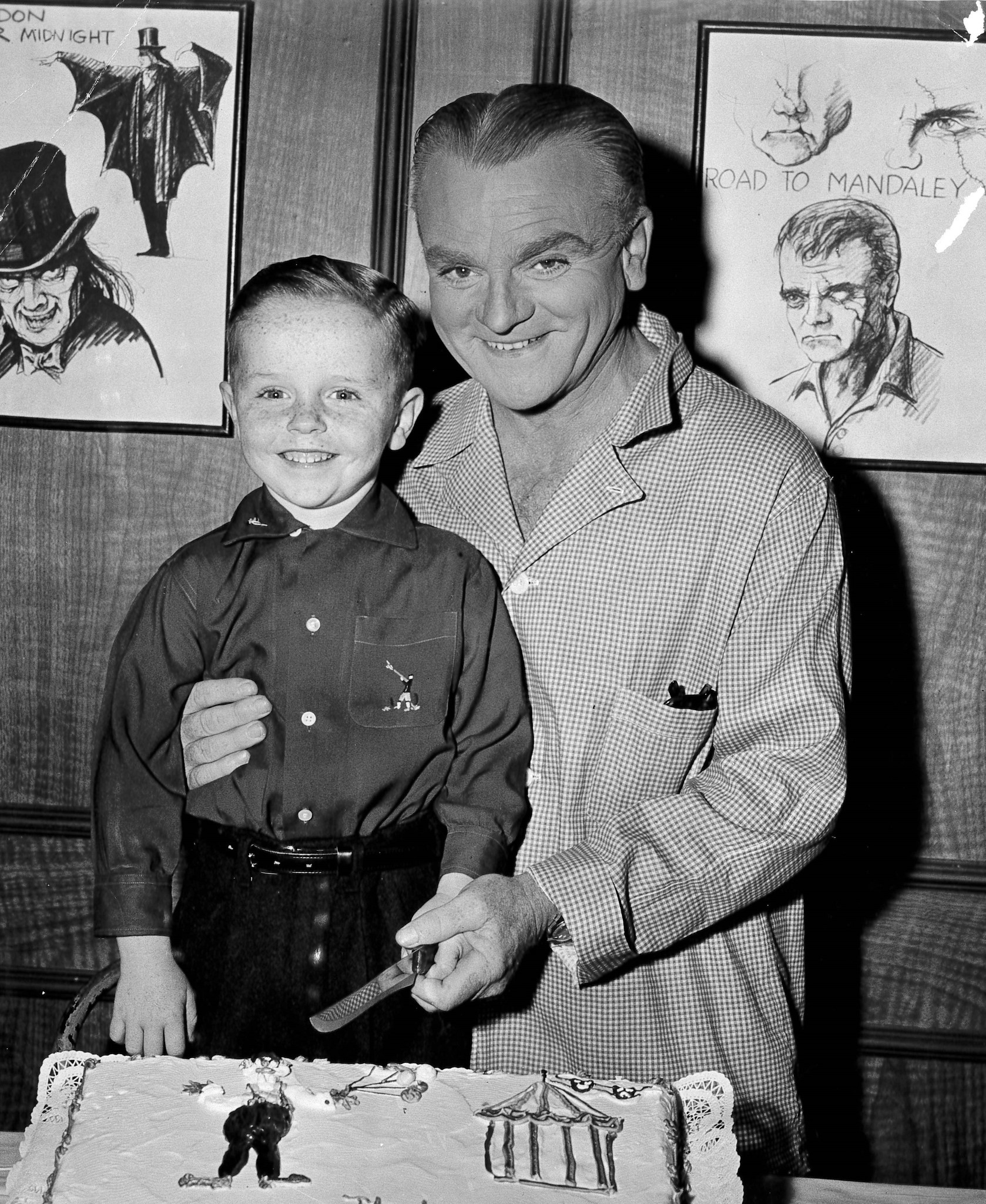 James Cagney celebrates his young co-stars fifth birthday on set in 1956.