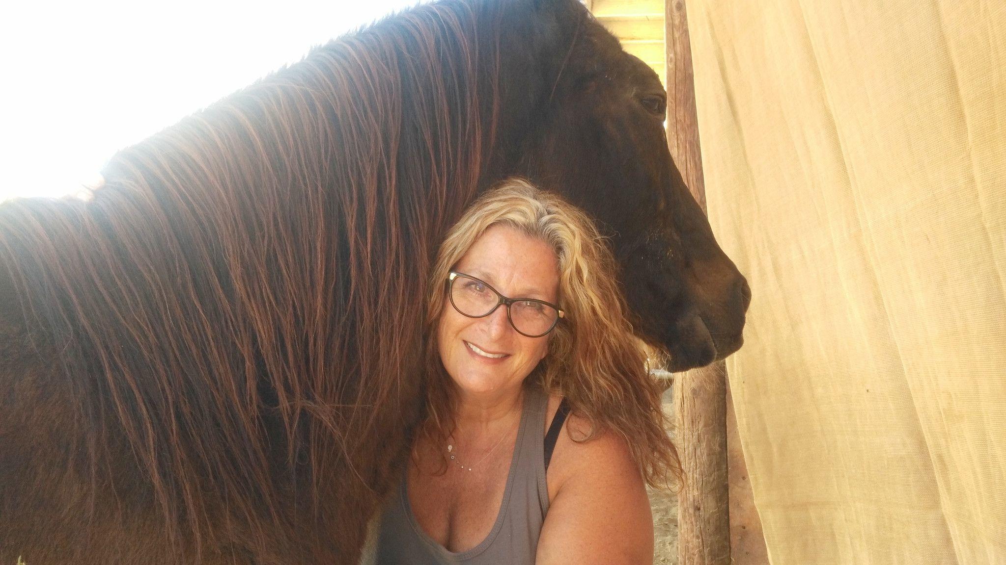 Victory nuzzles Ilana Friedman, who runs the 2 The Rescue Animal Sanctuary nonprofit.