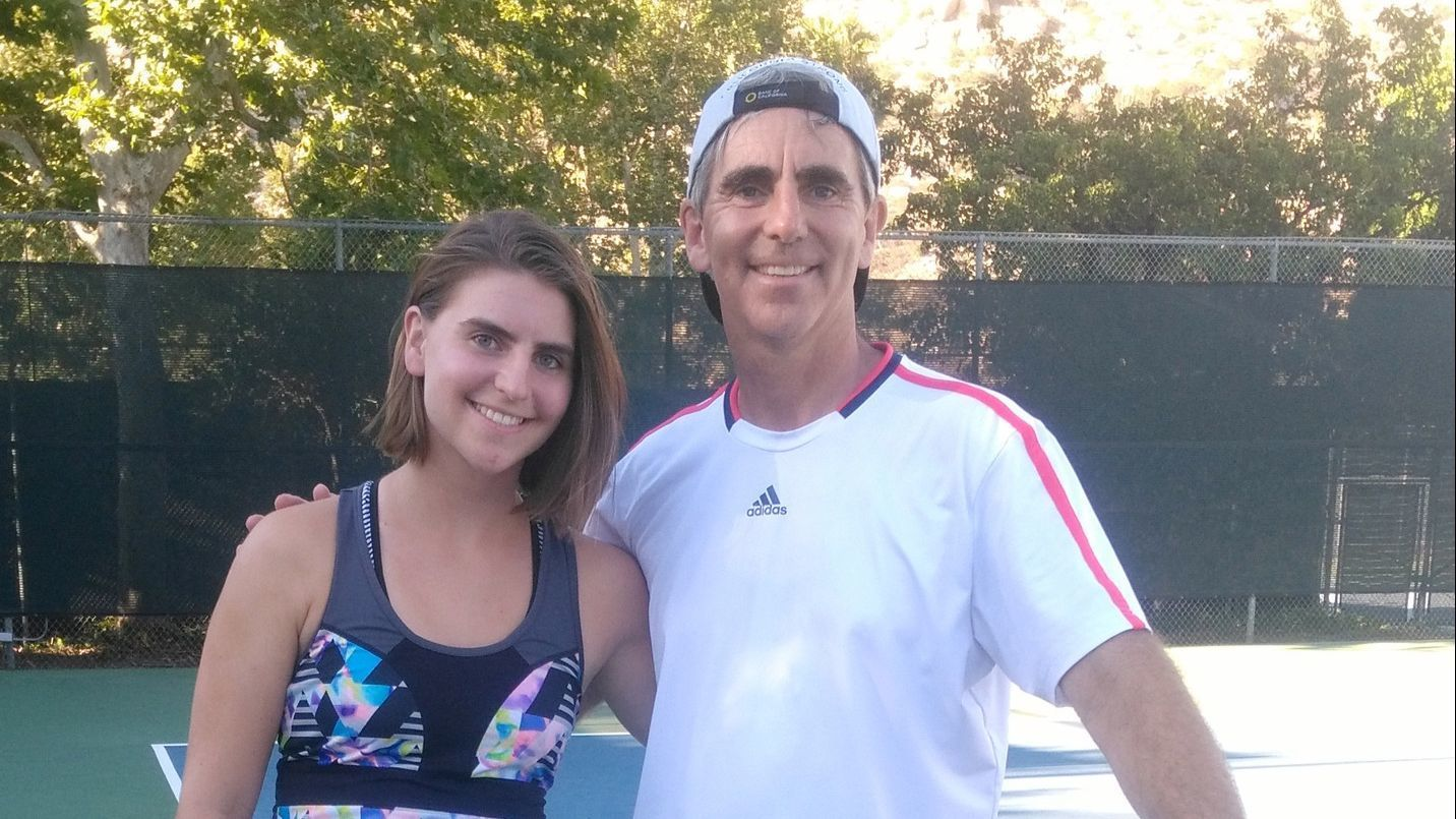 Halli Romero enjoys tennis sessions with her dad, Troy Romero, who coaches Ramona High School's girls varsity tennis team.
