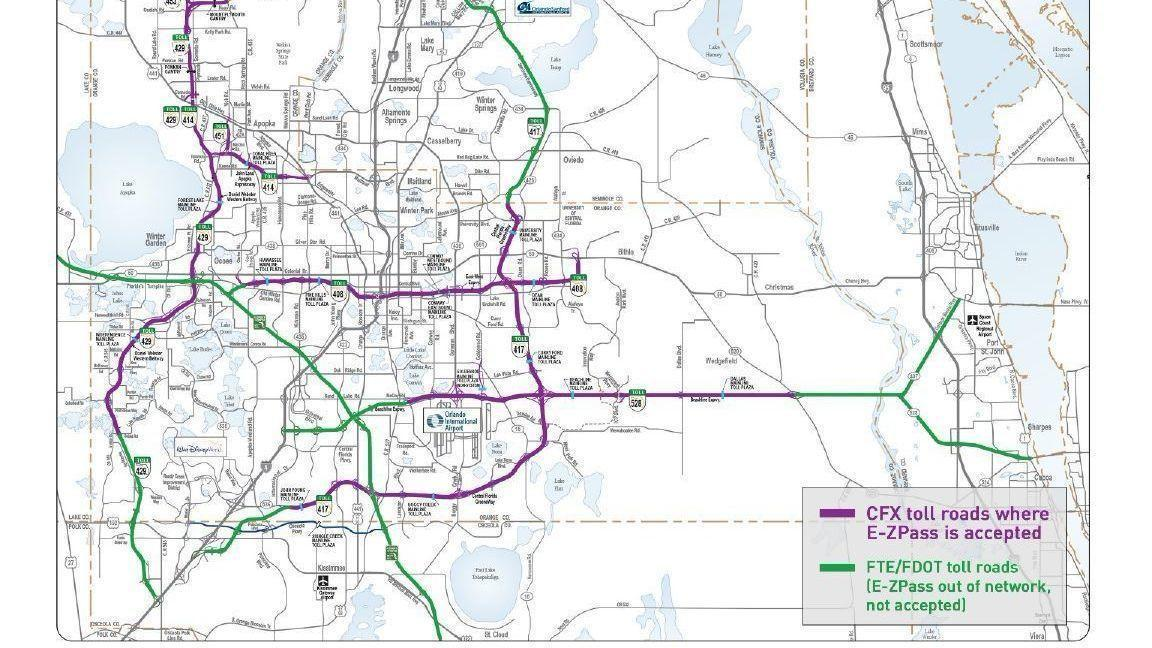 Map Of Florida Roads.Metro Orlando Toll Roads To Begin Accepting E Zpass Orlando Sentinel