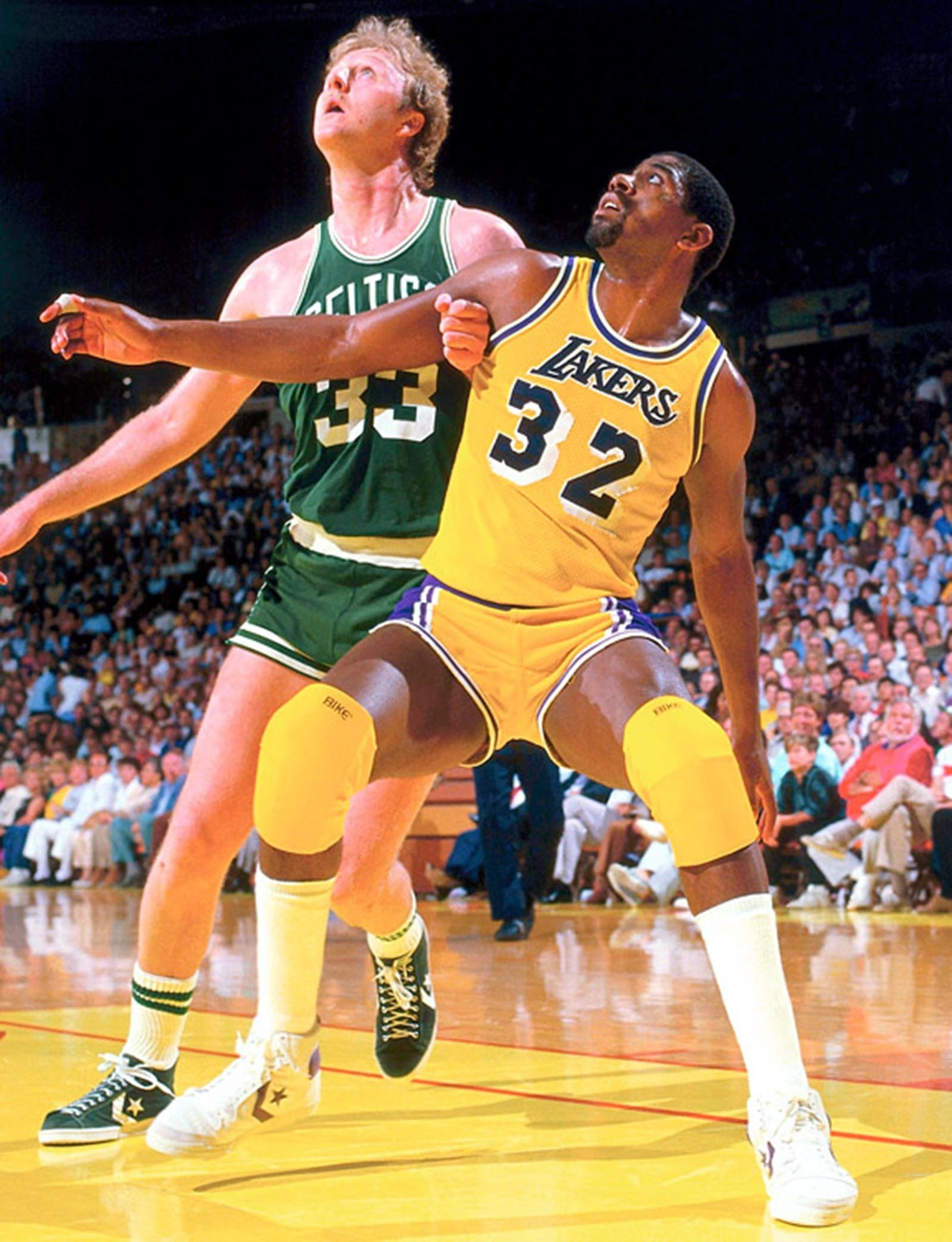"Dec 13, 2009 - Larry Bird battles for a rebound against ""Magic'' Johnson during a 1984 NBA Finals"