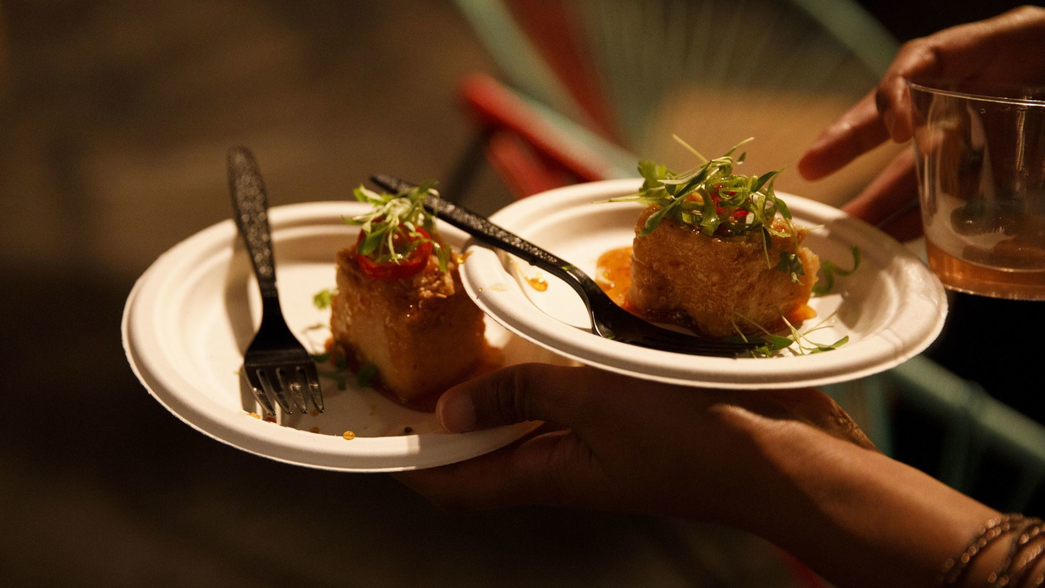 Sticky Tofu bites from Banh Oui during The Taste on the Paramount Studios backlot on Monday, Septemb
