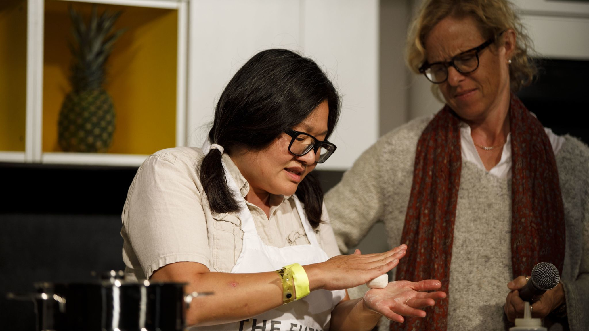 Minh Phan of Porridge + Puffs prepares savory fig mochi with LA Times' Amy Scattergood on the Culina