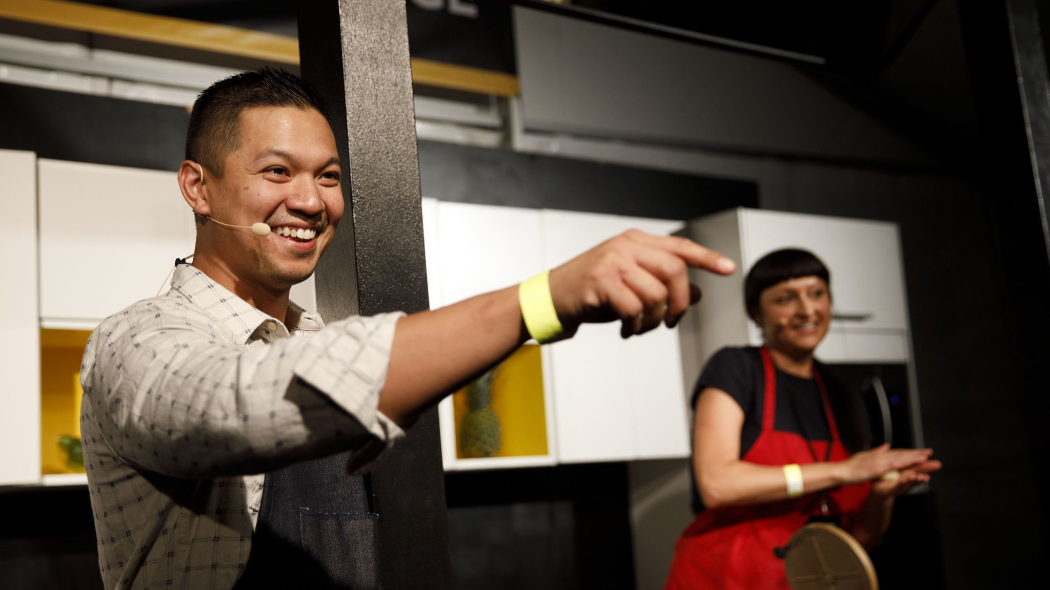 Charles Olalia of Rice Bar and Jennifer Feltham of Sonoratown present on stage during The Taste on t